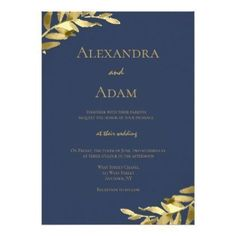 Navy gold wreath modern wedding invitations - wedding invitations diy cyo special idea personalize card
