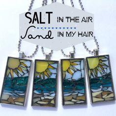 Kailua Series BeBesJoy.etsy #pendantnecklace #beachnecklace #beachjewelry #mosaicjewelry