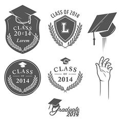 Set of vintage graduation labels badges and desig vector by ivanbaranov on VectorStock®