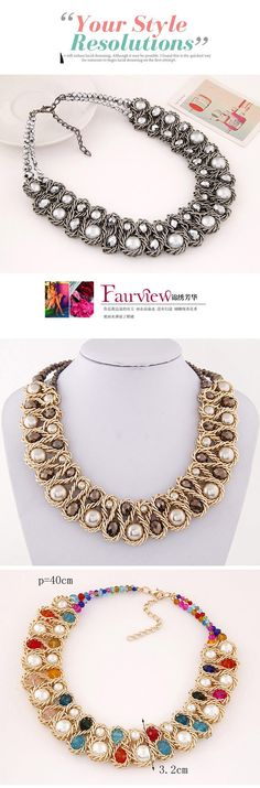 Luxurious Multicolor Beads Decorated Weave Design Alloy Fashion Necklaces ,Fashion Necklaces