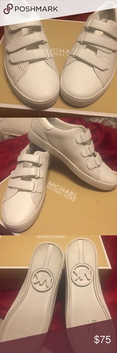 White Michael Kors tennis shoes !! New Michael Kors tennis shoes white I  do not have the original box  but I do have a Michael Kors box if you need one..but not the original one!!! Michael Kors Shoes Athletic Shoes