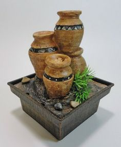 Bamboo Dual Power Mini Indoor Fountain. Fill With Water, Plug In And Watch  The Water Cascade Thru The Bamboo Into The Pool Below Repeatedly.
