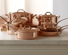 Mauviel Copper Cookware Set from Williams Sonoma. Shop more products from Williams Sonoma on Wanelo. Williams Sonoma, Copper Cookware Set, Staub Cookware, Pots And Pans Sets, Copper Pots, Kitchen Themes, Kitchen Ideas, Kitchen Essentials, Home Design