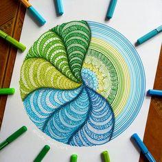 Colored Pens and Geometric Mandalas, Zentangles, Doodles. By ladymeliart Doodle Art Drawing, Zentangle Drawings, Mandala Drawing, Zentangle Patterns, Zentangles, Doodle Patterns, Wall Drawing, Art Patterns, Art Drawings Beautiful