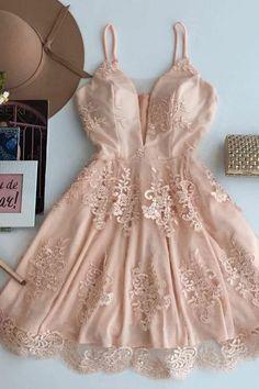 A-Line Prom Dresses #ALinePromDresses, Prom Dresses Lace #PromDressesLace, Prom Dresses Short #PromDressesShort