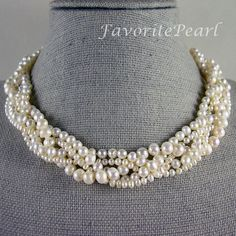 White Pearl Necklace Wedding Pearl Necklace  by FavoriteJewellery, $33.00