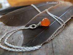 Sterling silver necklace with carnelian orange by WoodlandAndMoon