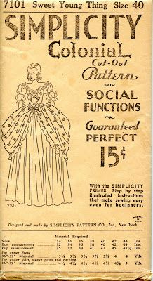 "1930's Simplicity #7101 ""Colonial Cut Out Pattern for Social Function"" Gown Pattern. by unsungsewingpatterns.net"