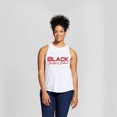 Black Beautiful & Brilliant Women's White Racerback Tank Top  #blackbeautifulandbrilliant #blackwomen #melaninrich #blackgirlmagic #tohaterswithlove #melaninmagic #lightskingirls #blackisbeautiful #darkskingirls #blackgirls