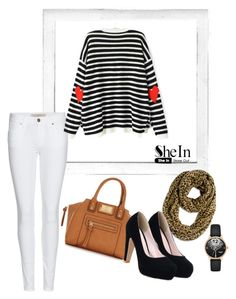 """""""Striped Heart Print Sweater- SheIn"""" by sselma ❤ liked on Polyvore featuring Polaroid, Chico's, Lipsy, Burberry and WithChic"""