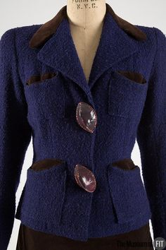 Suit (image 2) | House of Schiaparelli | French | Fall 1936 | tweed, velveteen, leather | Museum at FIT | Object #: 78.125.1