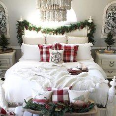 48 beautiful Christmas bedroom decor ideas - DIY and decoration White Bedroom Decor, Cozy Bedroom, Home Decor Bedroom, Bedroom Ideas, Modern Bedroom, Kids Bedroom, Bedroom Designs, Pretty Bedroom, Bedroom Inspiration