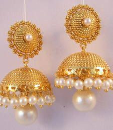 Page 3 of Jhumkas Earrings For Saree, Gold Jhumka Earrings, Indian Jewelry Earrings, Buy Earrings, Nose Jewelry, Gold Earrings Designs, Antique Earrings, Jhumka Designs, 1 Gram Gold Jewellery