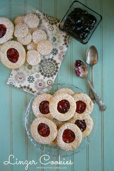 Linzer Cookies from Jen's Favorite Cookies  - almond cookies with plum jam, a beautifully impressive holiday treat!