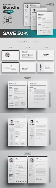 Resume/CV Bundle #curriculumvitae #CurriculumVitae #cvresume #StationeryDesign #pro #StationeryDesign #resumeset #StationeryTemplate #cleanresume #ResumeHelp #cvtemplate #cv #indesigntemplate #cv #stationery #stationery #work #minimalistcvresume #easytocustomize Best Resume, Resume Tips, Resume Cv, Resume Writing, Stationery Templates, Stationery Design, Resume Templates, Card Templates, Cover Letter Design