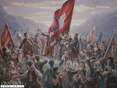 Raising the Standard at Glenfinnan, by Mark Churms   Supported by the Highland Chiefs with twelve hundred highlanders present. Prince Charles Edward Stuart raised his standard at Glenfinnan on the 19th August 1745. This was the start of the Forty Five which would end with the defeat of the Jacobite Army on Drumossie Moor at the battle of Culloden 16th April 1746.