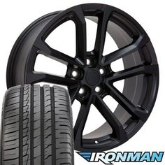 20x8.5 Wheels, Tires and TPMS Fit Chevy Camaro - Camaro ZL1 Style Satin Black Rims, Hollander 5547 w/Tires - Non-Staggered SET:   <p>This Wheel, Tire, TPMS all in one set will arrive to you Mounted, Balanced with TPMS installed. OEM Quality TPMS, Ironman Tires 245/45-20</p><p>Matte Black: The finish on this wheel is achieved through several different phases. The finishing process begins with the application of a black powder coat foundation. Two layers of non-gloss clear coat are then ...