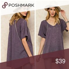 Heather Berry Top Very soft and comfy lightweight sheet sweater top. Featuring a short sleeve and v neck tunic. Made in USA. Wear this top when it's chilly outside or in a cold office at work! Tops
