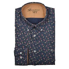 Maddox Street Navy Floral Print Mens Shirt