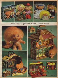 """1966 Trolls or Wishniks. Original troll dolls were """"Dam Dolls"""" and had the word """"DAM"""" embossed on their backs."""