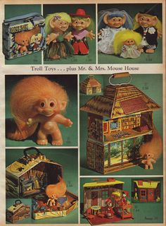 "1966 Trolls or Wishniks. Original troll dolls were ""Dam Dolls"" and had the word ""DAM"" embossed on their backs."