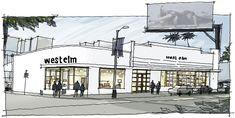 sketchy rendering style- west elm LA by  Thomas O'Brien of Aero Studios