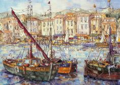 """Barques à Bordiguiere (Ref/GIR024) by Philippe Giraudo - Reproduction 70 x 50 cm (19.75"""" x 27.60"""") - $ 24.99 Reproduction, Philippe, French Riviera, French Artists, Painting, Painting Art, Paintings, Painted Canvas, Drawings"""