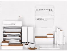 white with wood stationery from IKEA