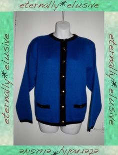 VTG 80s CLASSICS Contrast Knit Oversized Cardigan Top Womens Ladies Size M 12 14   02.70