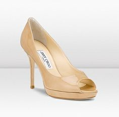 "Jimmy Choo - Luna - 247lunanpat - Nude Peep Toe Platform Pumps - This 'Perfect Peep-Toe' is based on our best-seller, Quiet but on a lower heel height. Heel height measures 100mm/3.9 "" with a 10mm/0.4 "" platform."