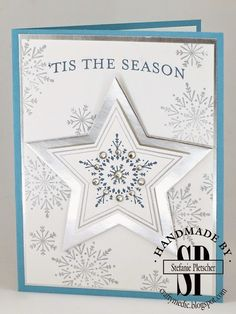 The Crafty Medic: Water Cooler Challenge : Color Challenge - Many Merry Stars stamp set from the 2014 Holiday Supplement. Christmas Cards 2018, Stamped Christmas Cards, Homemade Christmas Cards, Handmade Christmas, Homemade Cards, Christmas Stars, Christmas 2019, Christmas Hanukkah, Stampin Up Many Merry Stars