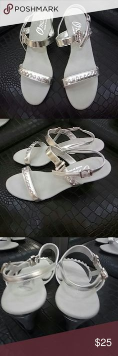 "Onex Silver Rhinestone 👡. Sandals Silver Onex Rhinestone Party Sandals.. Very sharp and functional with a 2"" silver heel.  Gently worn. Onex Shoes Sandals"