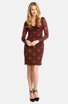 Free shipping and returns on Karen Kane Scallop Lace Dress at Nordstrom.com. A stretch-lace dress steps out for date night in a curve-skimming, Empire-waist design with a rounded V-neckline, sheer long sleeves and pretty scalloping around the edges.