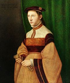 Portrait of the twenty year old merchant'swife, Hieronymus Maria Sulzer, by Christoph Amberger, 1544