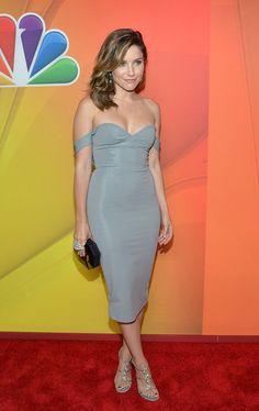 Sophia Bush attends at NBC Upfront Presentation on May 12th, 2014. Dress by Cushnie & Ochs.