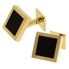 WEBER & CIE Gold and Onyx Cufflinks at 1stdibs