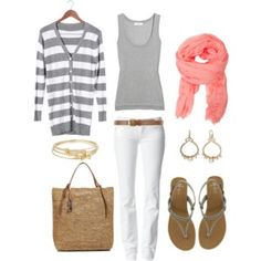 Spring fashion: white jeans, gray tank, gray striped cardigan & a pop of pink Mode Outfits, Fall Outfits, Fashion Outfits, Womens Fashion, Travel Outfits, Travel Wear, Fashion Ideas, Early Spring Outfits, Summer Outfits For Moms