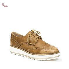 23f526631546 Ideal Shoes - Derbies effet usé en similicuir Baya Camel 37 - Chaussures ideal  shoes (
