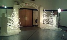 White brick entrance for a December wedding reception.