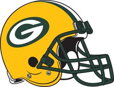 Green Bay Packers Helmet Logo (1980) - Yellow with green facemask, and green and white stripes