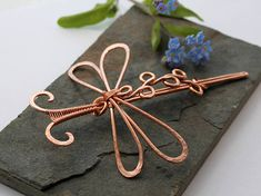 Styled Dragonfly Hair Barrette Or Scarf pin - Medium - Textured Shiny Copper - Hair clip