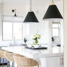 Black and white done right featuring our Butte pendants Imbrie articulating sconce. Design by photo by Black and white done right featuring our Butte pendants Imbrie articulating sconce. Design by Becki Owens photo by Ryan Garvin Studio Kitchen, Home Decor Kitchen, Rustic Kitchen, Kitchen Furniture, New Kitchen, Kitchen Ideas, Kitchen Black, Kitchen Lamps, Wood Furniture