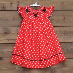 Smocked Minnie Inspired Bishop Dress Baby Toddler Disney Birthday Mouse Outfit