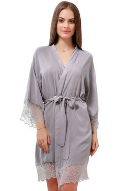 GoldOath 100% Soft and Comfortable Bathrobe for Women Personalized Lace  Trim Sexy Women,Kimono Nightgown Robes(S-XL) at Amazon Women s Clothing  store  66c3f4e44
