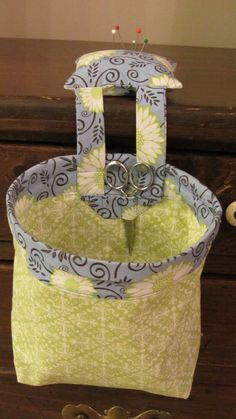 Sewing Caddy  Thread Catcher and Pincushion by StitchNFun on Etsy, $18.00