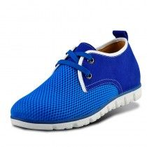 Sky blue height elevator sport shoes men breathable mesh summer taller shoe grow height 6cm / 2.36inches