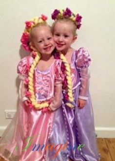 Beautiful Repunzel inspired costumes for 2 beautiful princesses.  Dresses and head pieces made by Imagine For Kids.  Enquires: sales@imagineforkids.com.au  www.fb.com/imagine4kids Head Pieces, Justin Bieber, Princesses, Harajuku, Costumes, Inspired, Kids, Inspiration, Beautiful