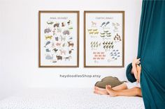 Educational Printable for Kids Educational Posters Animal   Etsy Menu Planner Printable, Printable Shopping List, Printable Wall Art, Printables, Safari Nursery, Nursery Room, Nursery Decor, Abc Poster, Posters
