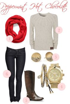 Add red infinity scarf to your neutral winter outfit. The Sweet Ashley Life: Friday's Fancies {yummy treats) Outfits Otoño, Casual Outfits, Fashion Outfits, Womens Fashion, Fasion, Fall Winter Outfits, Autumn Winter Fashion, Winter Wear, I Love Fashion