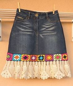 - Feli K - denim crochet skirt . denim crochet skirt Más Learn the basics of how to needlework (generic term), at the very first. If you're brand new to needlecra Black Crochet Dress, Crochet Skirts, Crochet Clothes, Crochet Lace, Crochet Edgings, Crochet Squares, Crochet Cardigan, Filet Crochet, Sewing Clothes